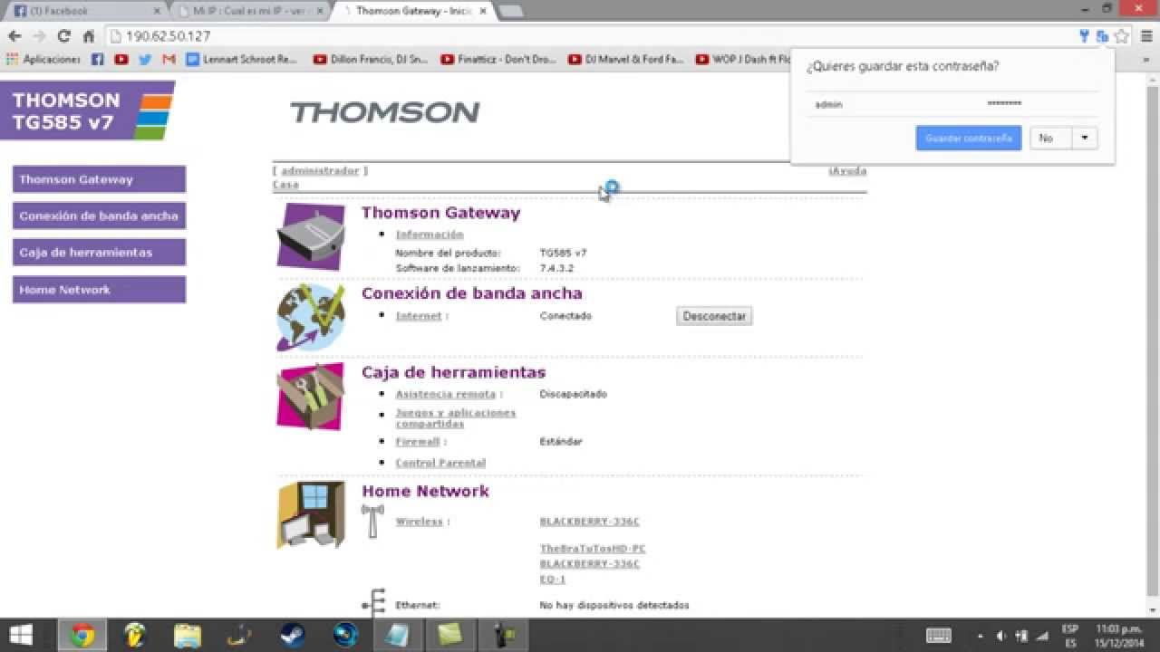 Como saber Contraseña Por Defecto del Modem Thomson de Turbonett ...