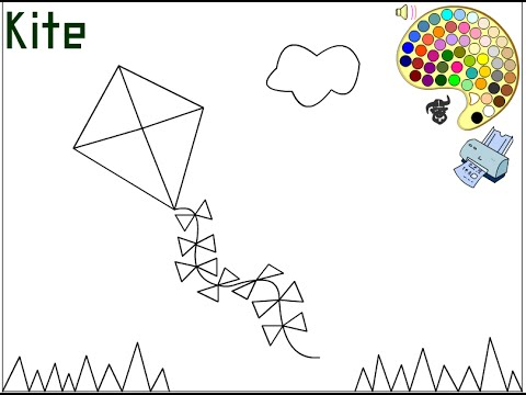 Kite Coloring Pages For Kids Kite Coloring Pages YouTube
