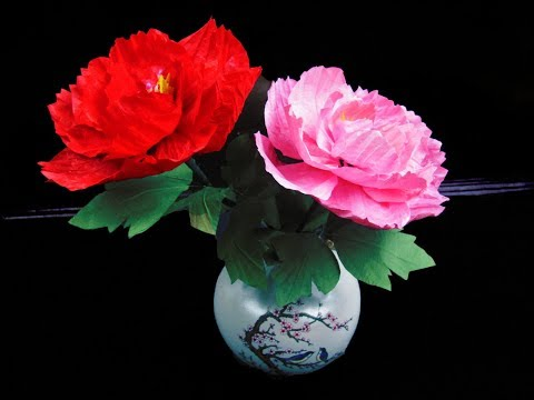 DIY Crafts Tutorial-Making Peony Paper Flowers Home Decoration