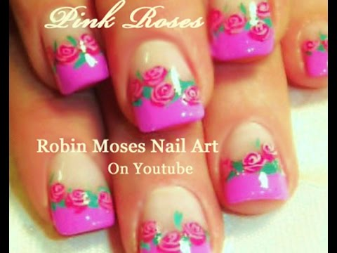 Pink Rose Nail Art | Pretty Pink French Tip Nails Design Tutorial - Pink Rose Nail Art Pretty Pink French Tip Nails Design Tutorial