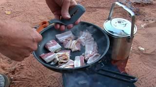 (Short) Breakfast Hash Burritos Firebox Stove Style In Utah's Red Rock Desert!