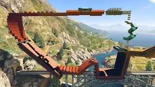 Grand Theft Auto 5 - IMPOSSIBLE TRAIN DEATH RUN!? (Funny moments)