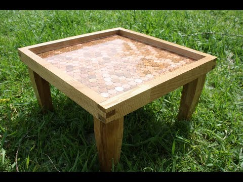 Building a small table out of oak, cent coins and epoxy
