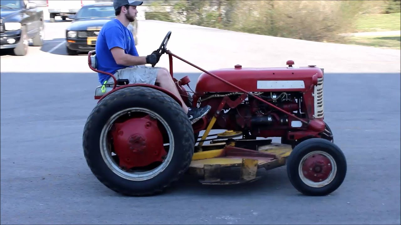 video 1958 lowboy cub tractor with woods belly mower [ 1280 x 720 Pixel ]