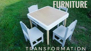 Children's Table & Chairs Makeover | Garbage Picked Fixer Upper | Chalk Paint