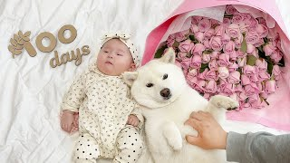 A Baby who Spent Her Whole Life with Dogs! (Growth Diary of Baby from Day 1~100)