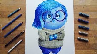 How to draw Sadness from Inside Out / Como dibujar a Tristeza de Intensamente