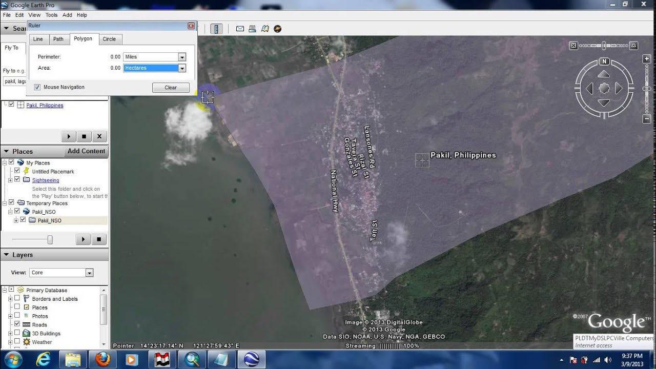 how to measure land area using google earth