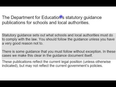 The Department for Education's statutory guidance publications for schools and local authorities.