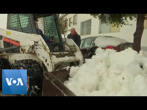 Snow Blankets Town in Spain as Storm Gloria Brings Freezing Weather