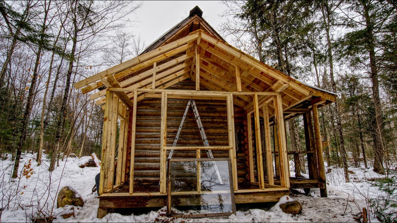 Building a New Room on My Off Grid Log Cabin Alone My Sekf Reliance
