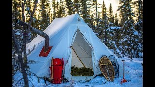 Winter Camping In CANADA   Extreme Wilderness Living In A Wall Tent