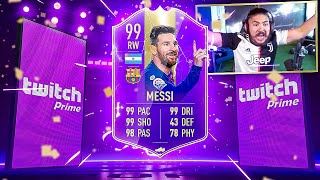 I PACKED 99 MESSI!! SICK TWITCH PRIME PACKS!! FIFA 19