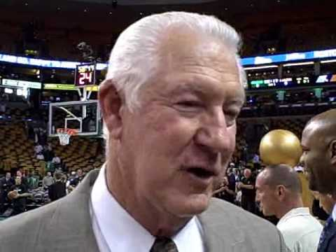 Boston Herald's Jessica Heslam interviews John Havlicek at NBA Finals Game 3
