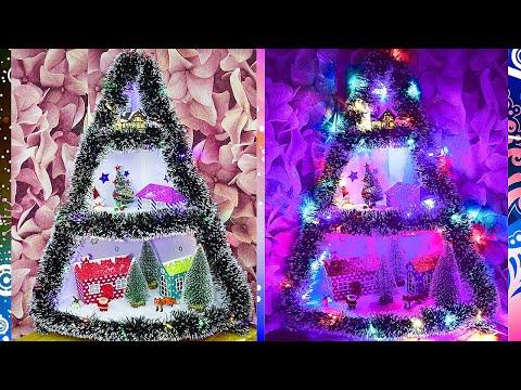 Сказочная Новогодняя елочка из картона! Рождественская деревушка!