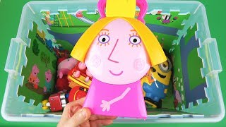 Learn Characters, Vehicles and Colors with Ben & Holly, Peppa Pig, and other toys in box for Kids