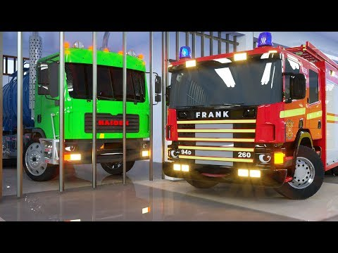Water Tank In Cage By Fire Truck Frank And Sergeant Lucas The Police Car - Wheel City Heroes Cartoon