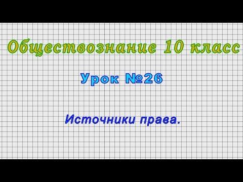 Обществознание 10 класс (Урок№26 - Источники права.)