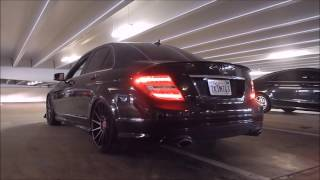 Phil's Bagged Mercedes C300 4Matic LOUD Straight Pipe Exhaust