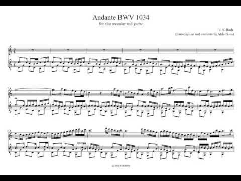 J.S.Bach, Andante BWV 1034 (guitar solo accompaniment for alto recorder)