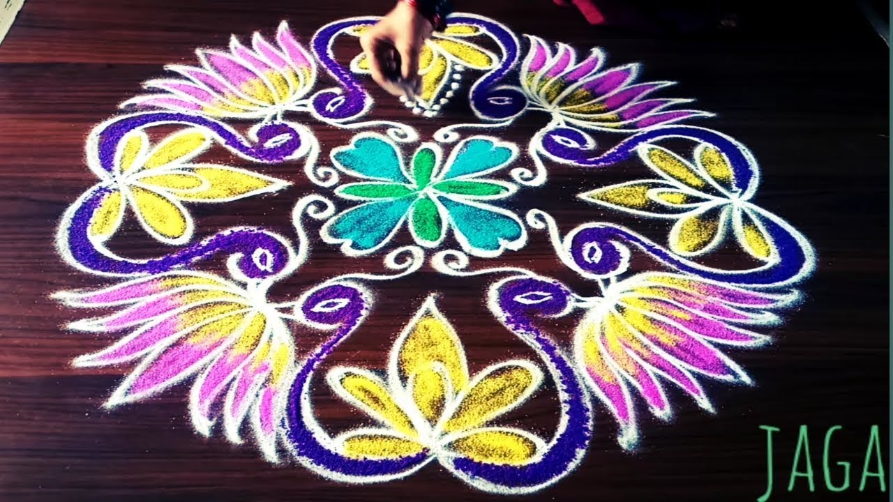 Easy Peacock Lotus Flower Rangoli Design With 9 Dots Made Easy To