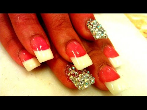 Acrylic Pink & White Nails Tutorial