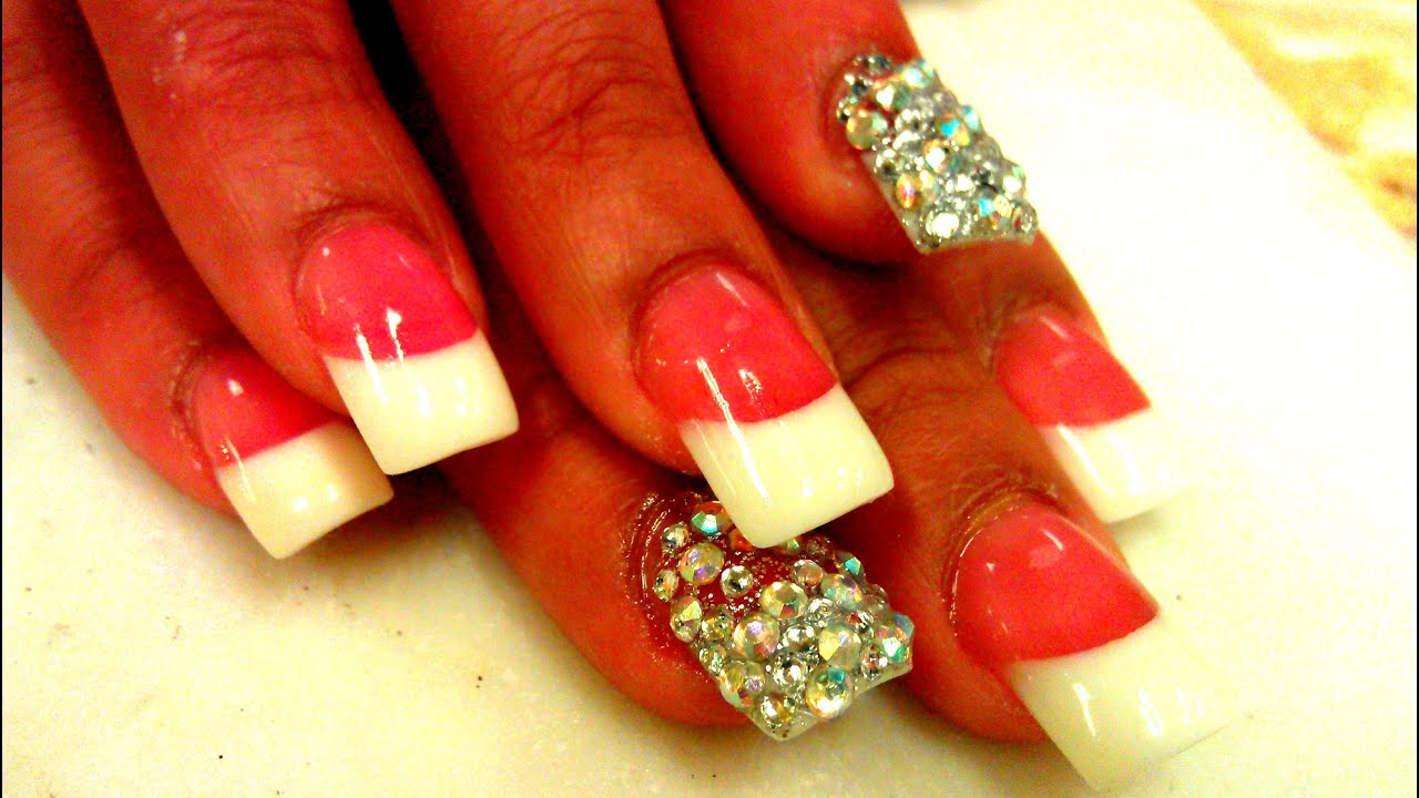 Acrylic Pink & White Nails Tutorial - YouTube
