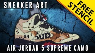 Sneaker Art: Air Jordan 5 Supreme Camo w/ Downloadable Stencil