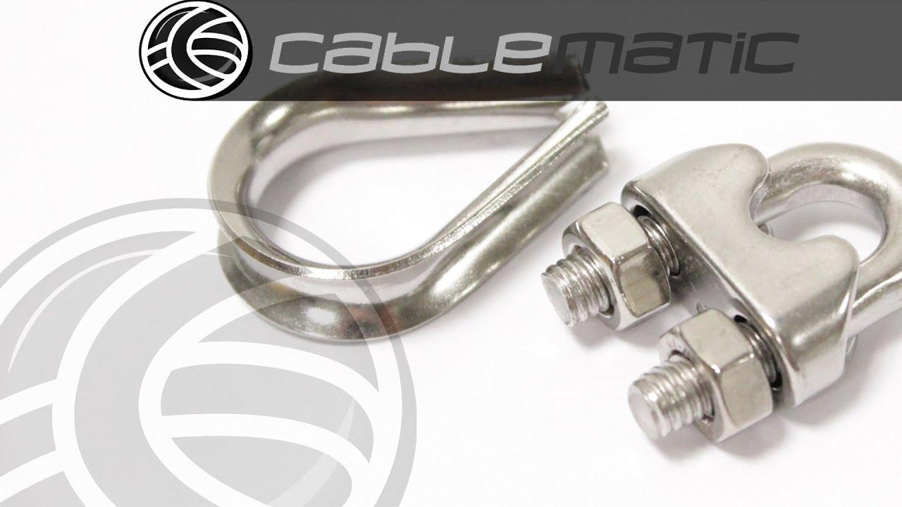 Guardacables y grapa para cable de acero inoxidable for Cable de acero precio