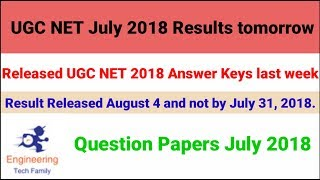 UGC NET July 2018 Results tomorrow