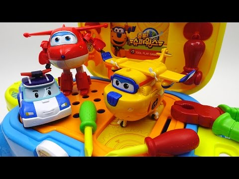 Thumbnail: Super Wings Tools Toy Let's Fix Donnie with Pororo and Make Him Fly Again~!!