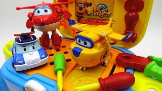 Super Wings Tools Toy Let's Fix Donnie with Pororo and Make Him Fly Again~!!