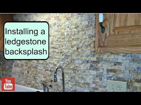 Installing a ledgestone backsplash