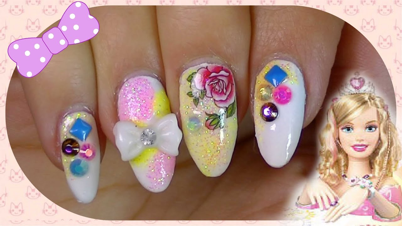 cute spring barbie inspired nails