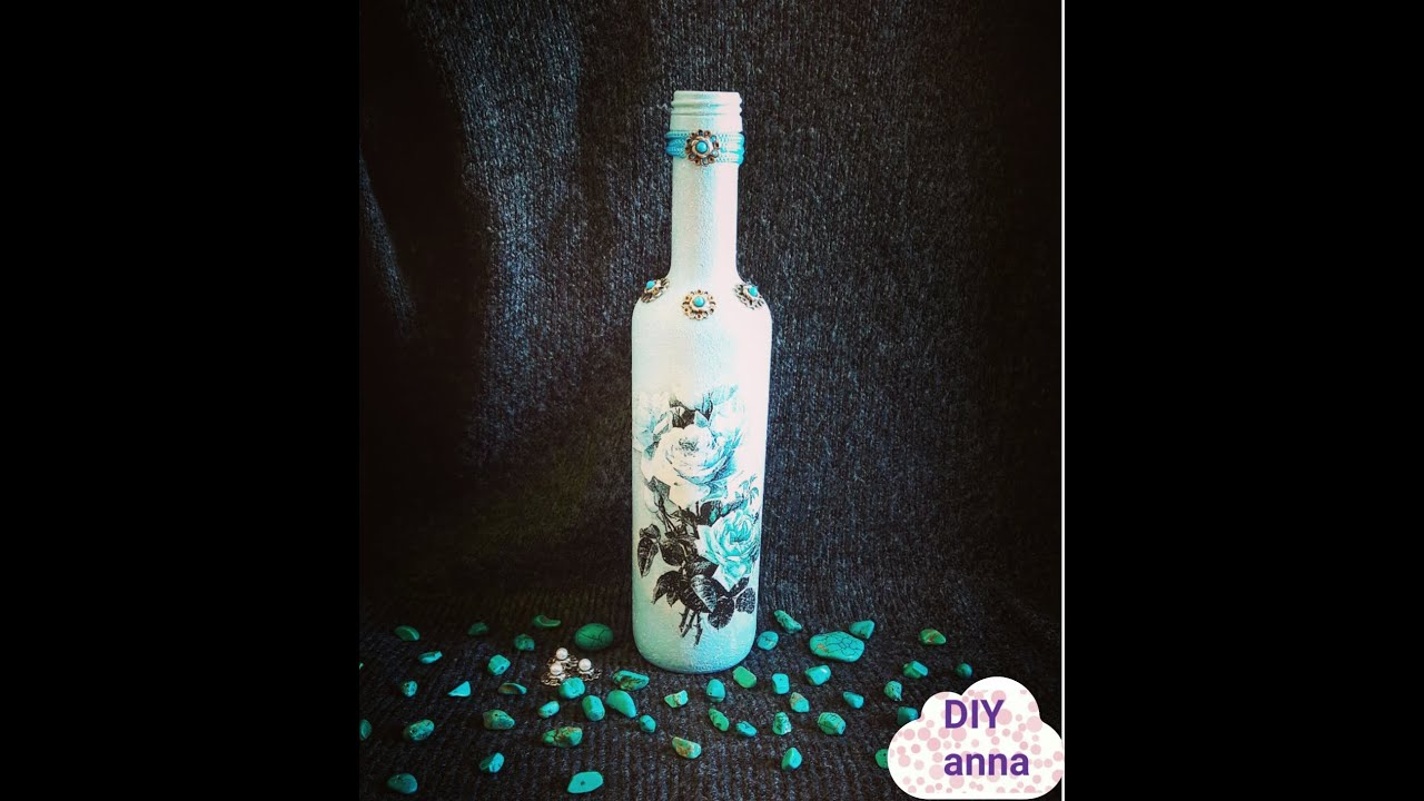 decoupage bottle with rice paper and turquoise