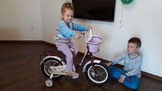 Велосипед детский Стелс Stels Flyte 14 дюймов для девочки с боковой поддержкой Распаковка и Обзор