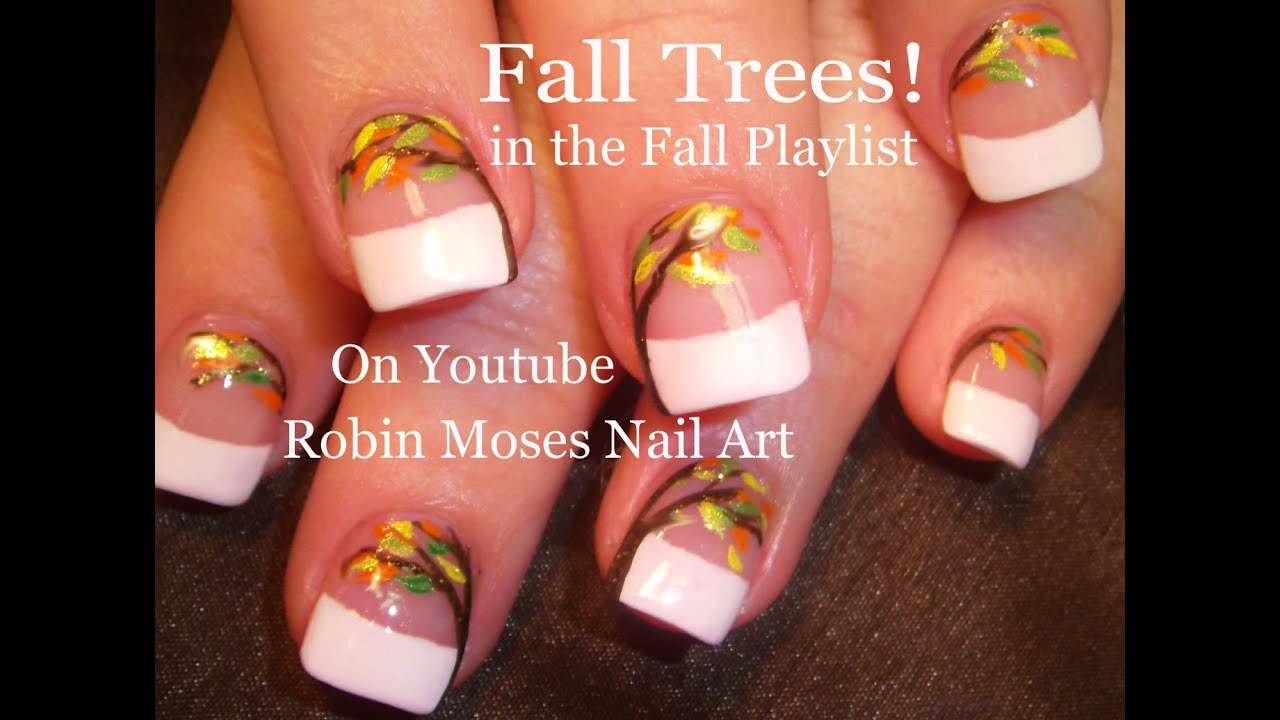 Easy Fall Leaf Nails | DIY Thanksgiving Nail Art Design Tutorial ...