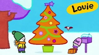 Christmas Cartoon - Louie draw me a Christmas tree | Learn to draw, cartoon for children
