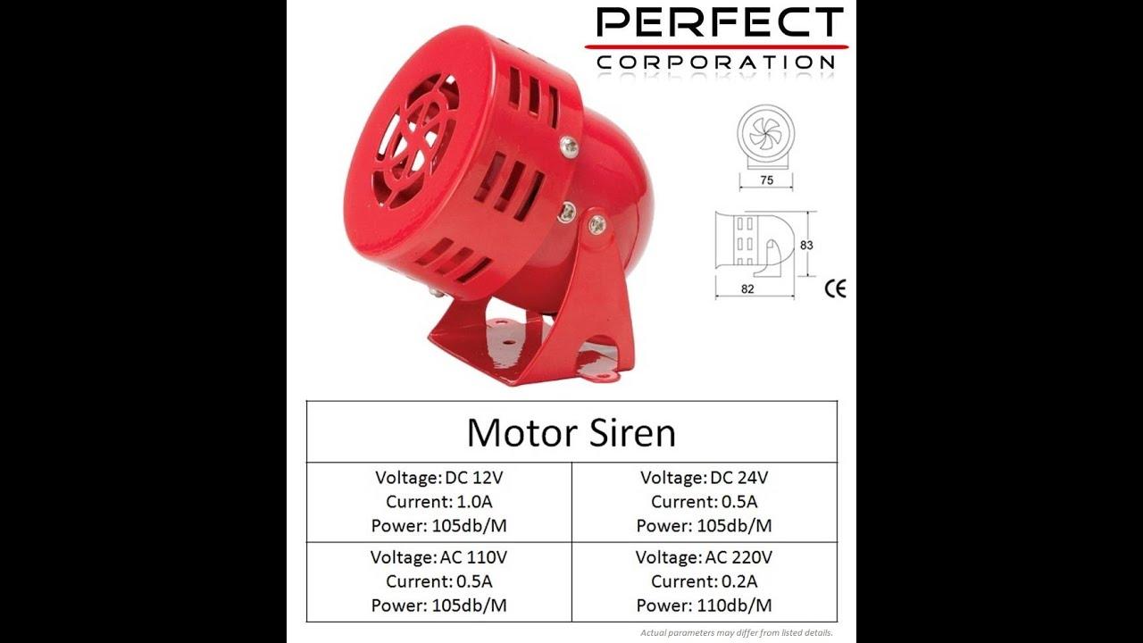 Mini Motor Siren 220v Ac 12v 24v Supply Youtube