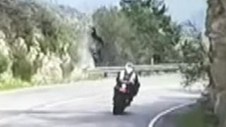 Funny Video: Motorcycle Loses Control Flips Over Cliff