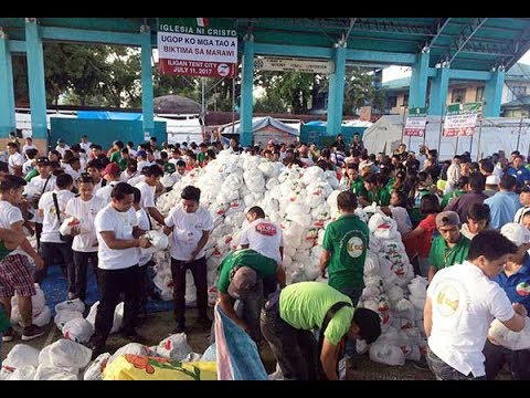 KUDOS! -- Iglesia ni Cristo sends trucks carrying 100,000 relief packs to the people of Marawi City