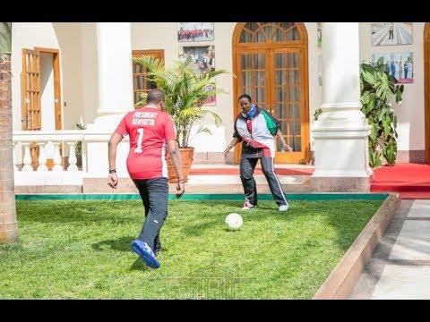 VIDEO: PRESIDENT UHURU PLAYS FOOTBALL WITH CS AMINA, WISHES HARAMBEE STARS ALL THE BEST