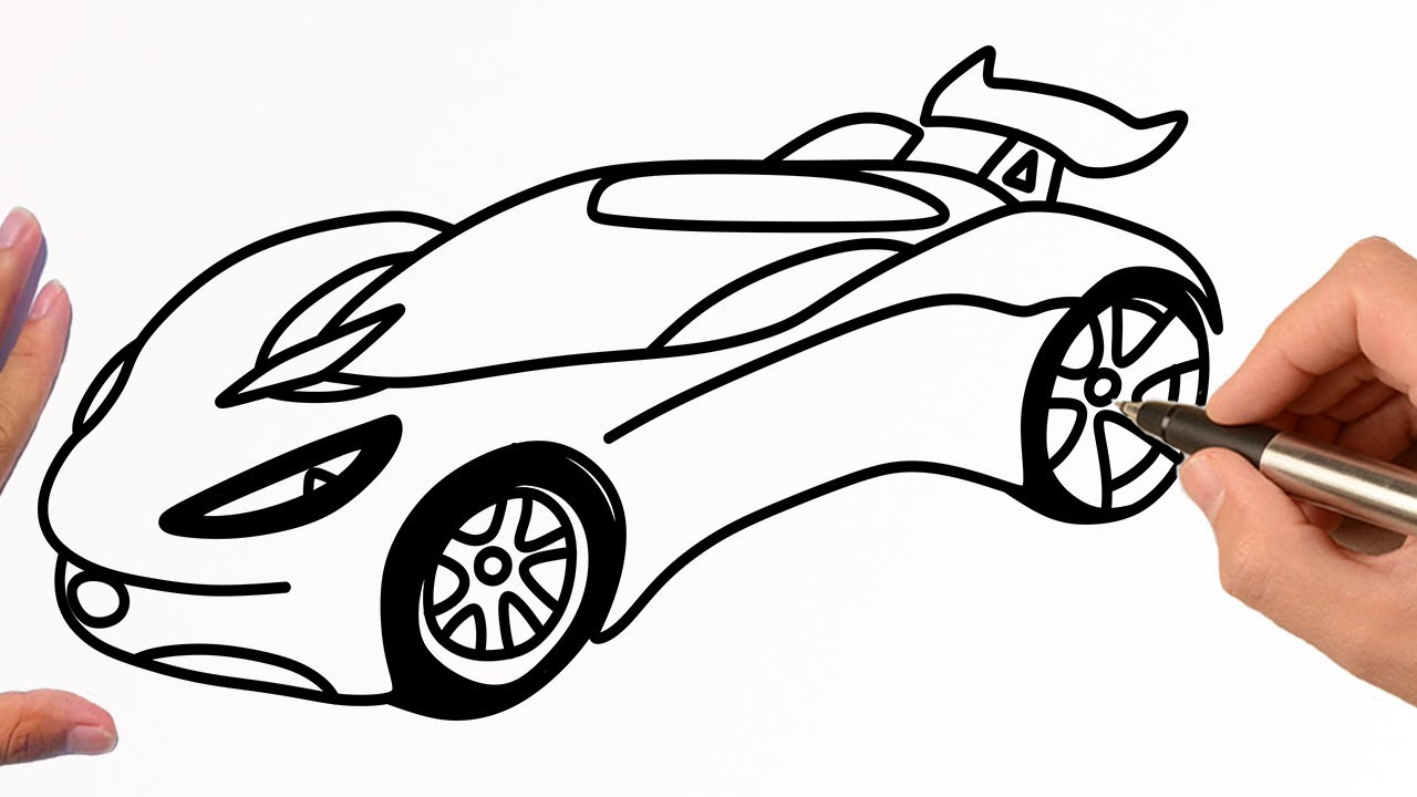 How to draw a RACING CAR easy step by step | Hot wheels draw ...