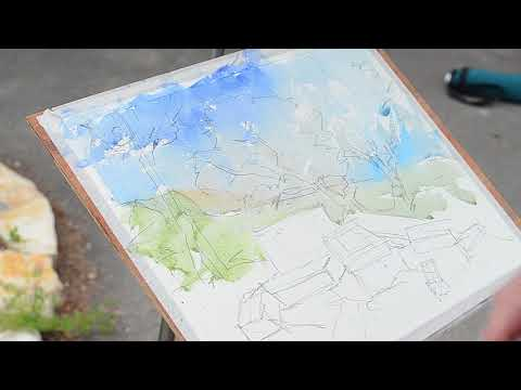 הדגמת ציור בצבעי מים בתל קדש Watercolor painting of an archaeological site with Amir Nir