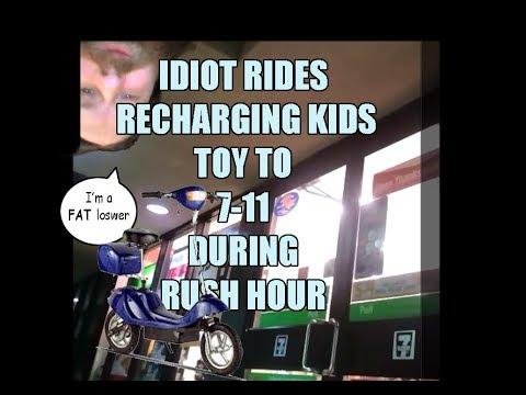 Loser drives Electromagnetic kids scooter to 711