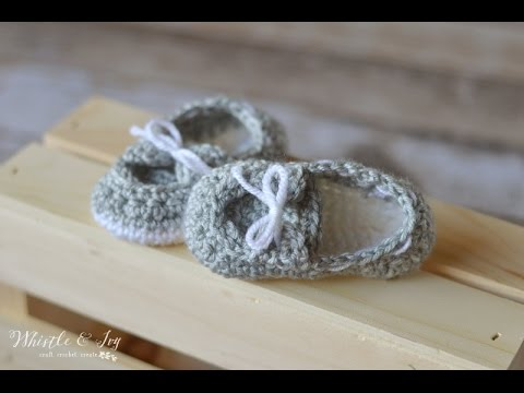 Free Crochet Pattern For Baby Boat Shoes : Baby Boat Shoe Booties Crochet Pattern - YouTube