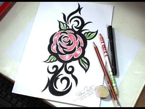 Como Desenhar Rosa Tattoo Tribal Passo A Passo Youtube