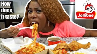 southern american trying jollibee for the first time mukbang eating show