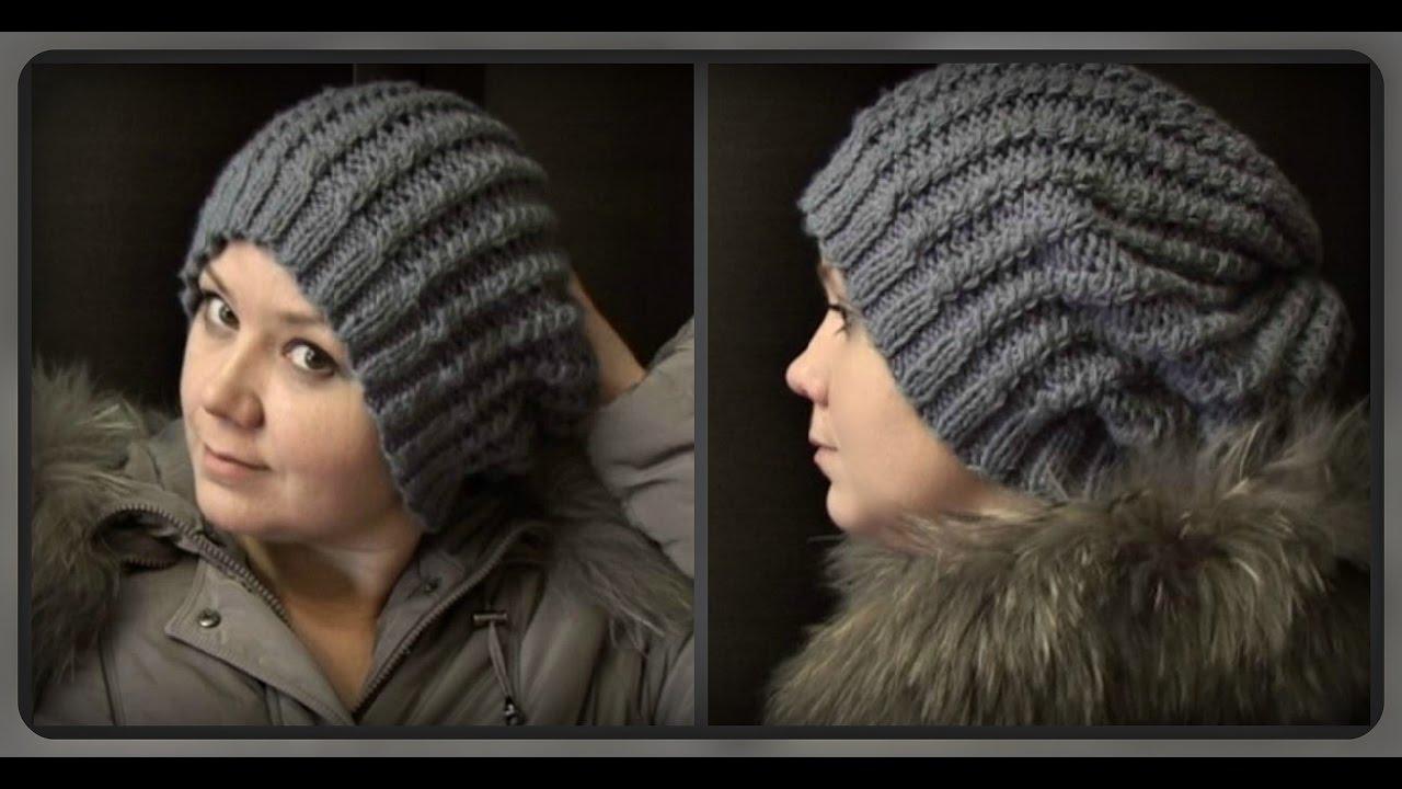 осенне зимняя женская шапка вязание спицами Youtube