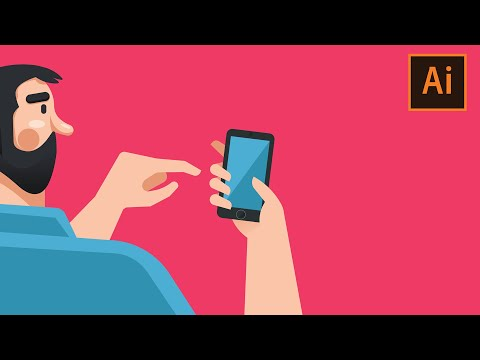 Man holding smartphone Tutorial in Illustrator thumbnail